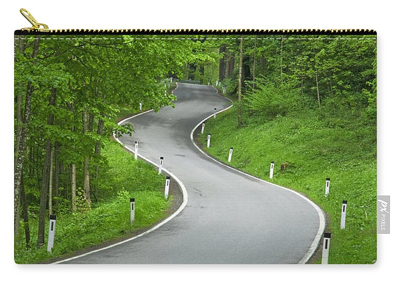 Road Carry-all Pouch featuring the photograph Winding Road In The Woods by Chevy Fleet