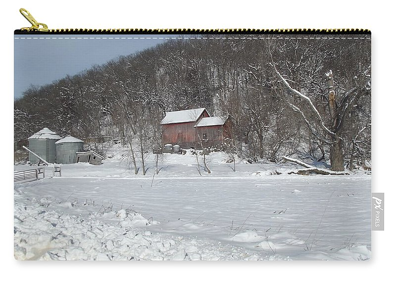 Elkader Iowa Carry-all Pouch featuring the photograph Winter Farm by Bonfire Photography