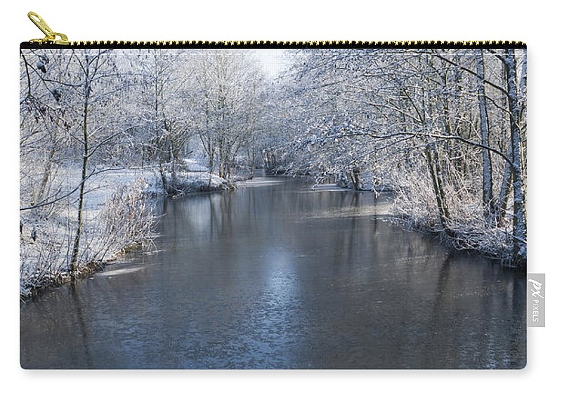 Blue Carry-all Pouch featuring the photograph Winter Landscape by Svetlana Sewell