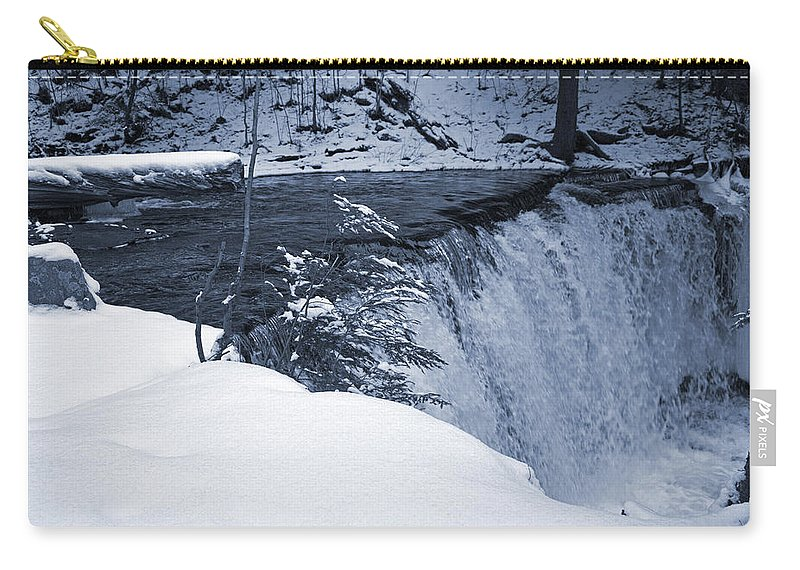 Waterfall Carry-all Pouch featuring the photograph Winter Waterfall Snow by John Stephens