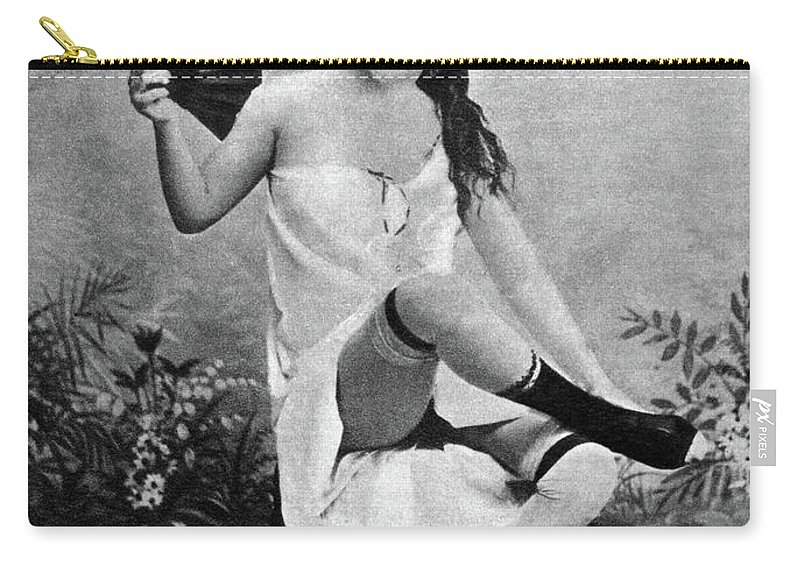 1887 Carry-all Pouch featuring the photograph Woman And Fan, C1887 by Granger
