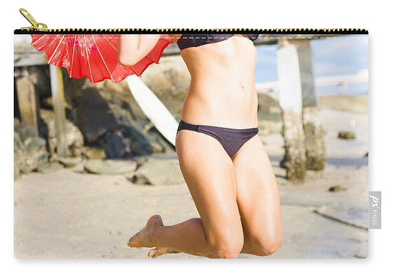 Adults Carry-all Pouch featuring the photograph Woman In Bikini Jumping by Jorgo Photography - Wall Art Gallery