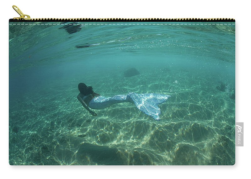 Photography Carry-all Pouch featuring the photograph Woman Pretending To Be A Mermaid 1 by Panoramic Images