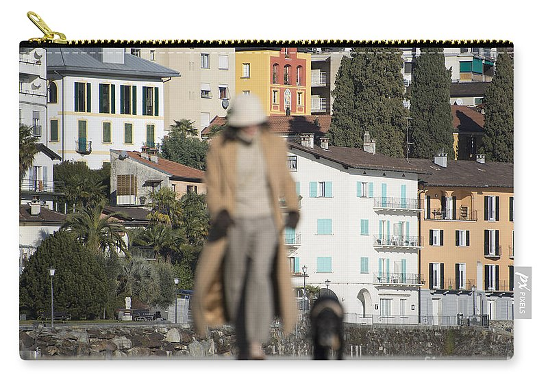 Woman Carry-all Pouch featuring the photograph Woman With Her Dog by Mats Silvan