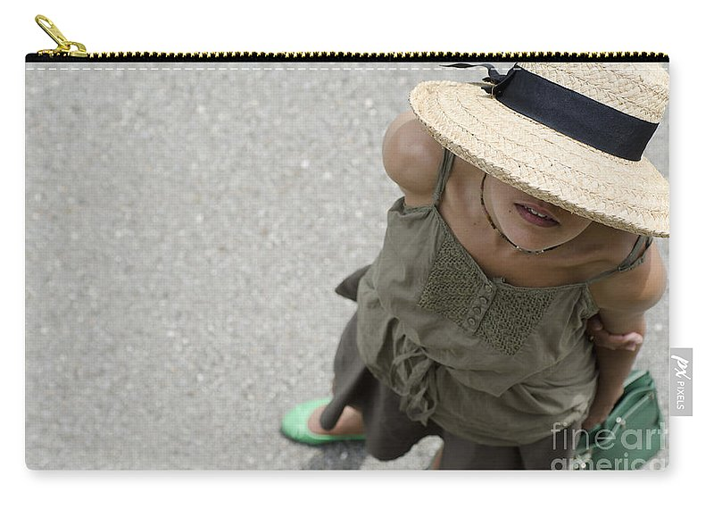 Woman Carry-all Pouch featuring the photograph Woman With Straw Hat by Mats Silvan