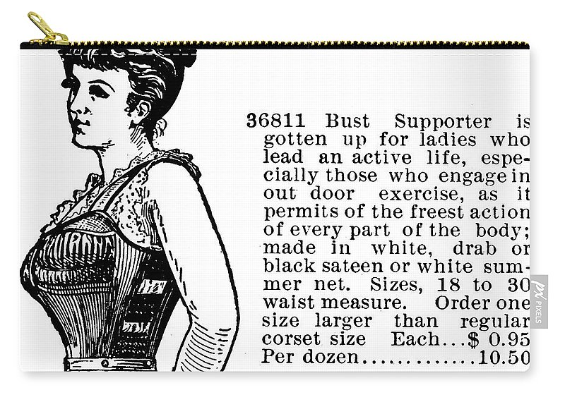 1895 Carry-all Pouch featuring the painting Women's Fashion, 1895 by Granger