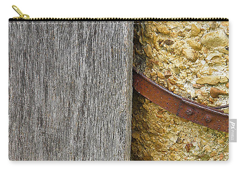 Wood Carry-all Pouch featuring the photograph Wood Concrete And Steel In Color by Nick Kirby