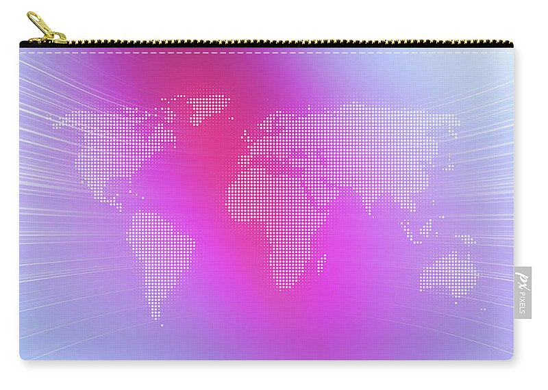 Curve Carry-all Pouch featuring the digital art World Map In Dots Against An Abstract by Ralf Hiemisch