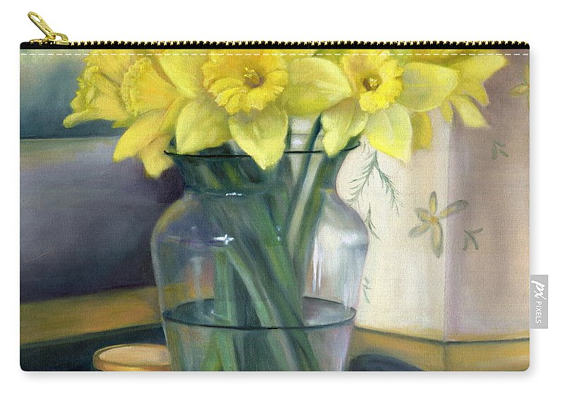 Still Life Carry-all Pouch featuring the painting Yellow Daffodils by Marlene Book
