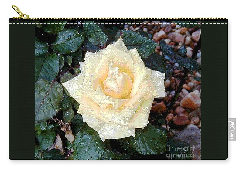 Digital Carry-all Pouch featuring the digital art Yellow Rose At Dawn by Alys Caviness-Gober
