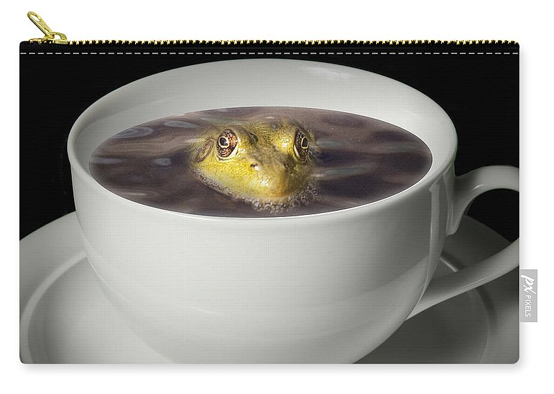 Art Carry-all Pouch featuring the photograph Yikes There Is A Frog In My Java by Randall Nyhof