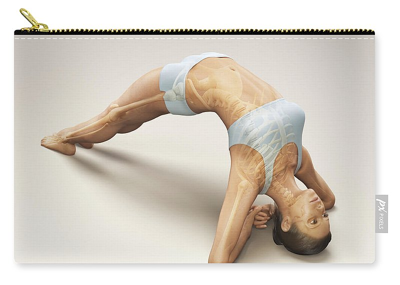 Transparent Carry-all Pouch featuring the photograph Yoga Upward Facing Two-foot Staff Pose by Science Picture Co