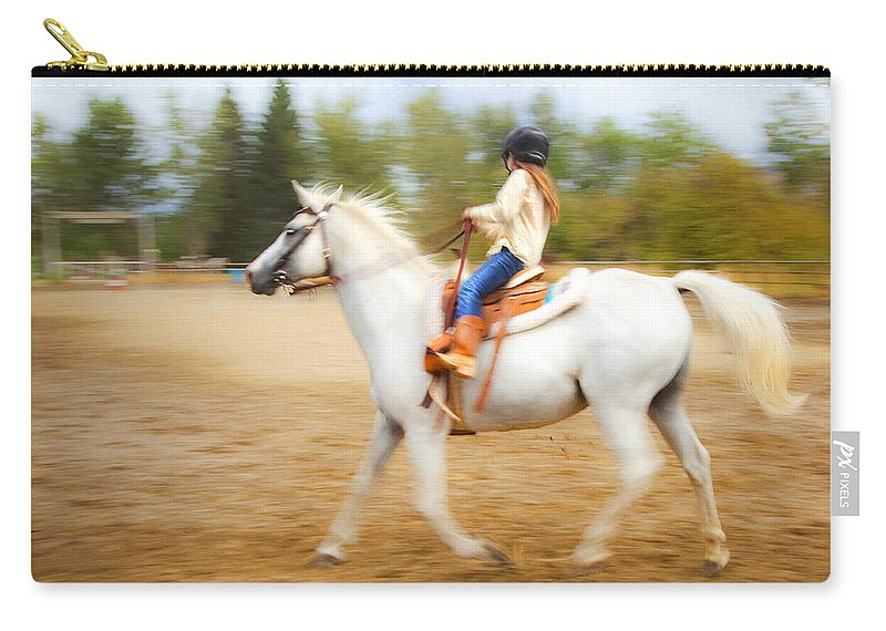 Horse Carry-all Pouch featuring the photograph Young Rider by Theresa Tahara