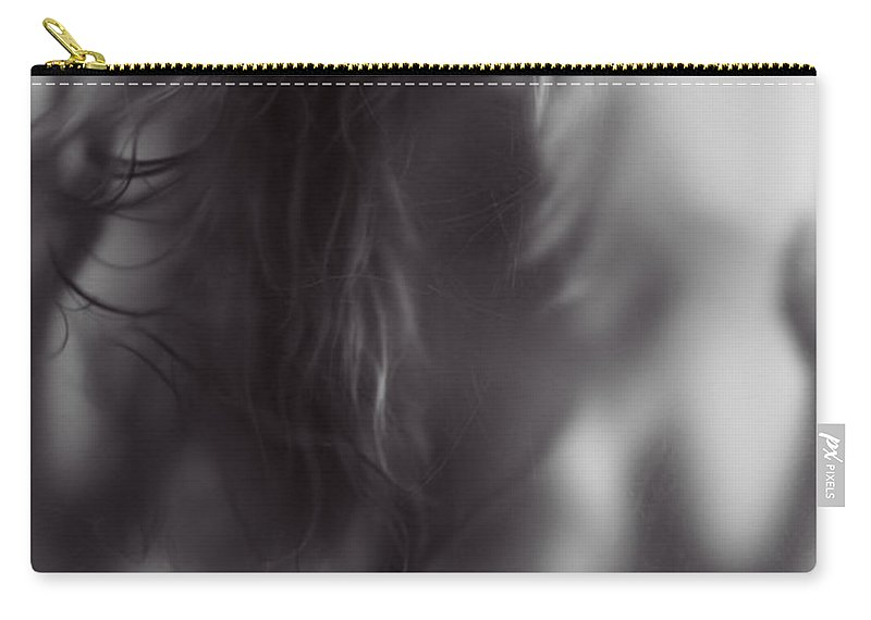 Woman Carry-all Pouch featuring the photograph Young Woman Trapped Behind Glass by Oleksiy Maksymenko