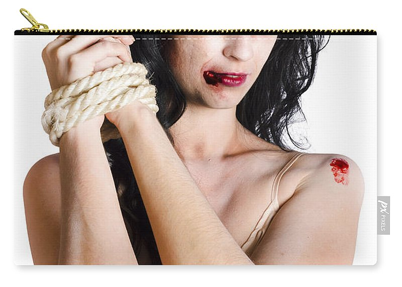 Apparition Carry-all Pouch featuring the photograph Zombie Tied Up by Jorgo Photography - Wall Art Gallery