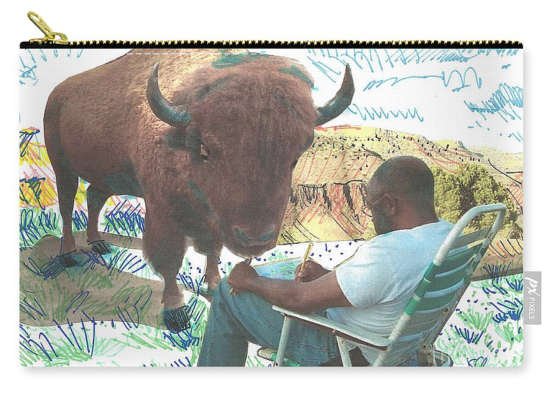 Buffalo Carry-all Pouch featuring the mixed media Zsup by Charles M Williams