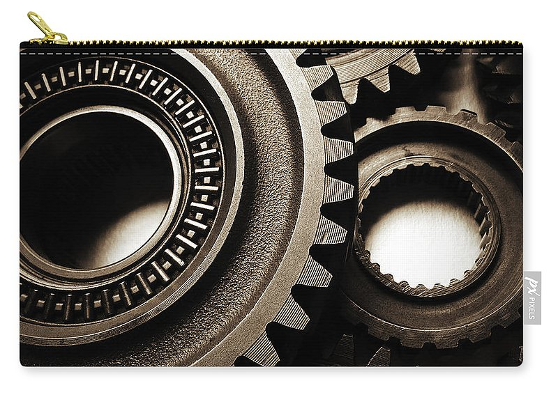 Gearing Carry-all Pouch featuring the photograph Cogs No14 by Les Cunliffe