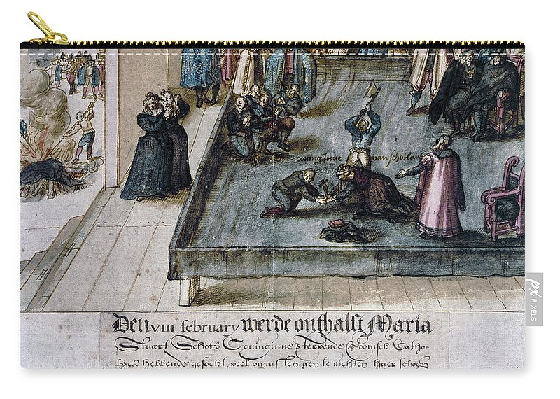 1587 Carry-all Pouch featuring the painting Mary, Queen Of Scots (1542-1587) by Granger