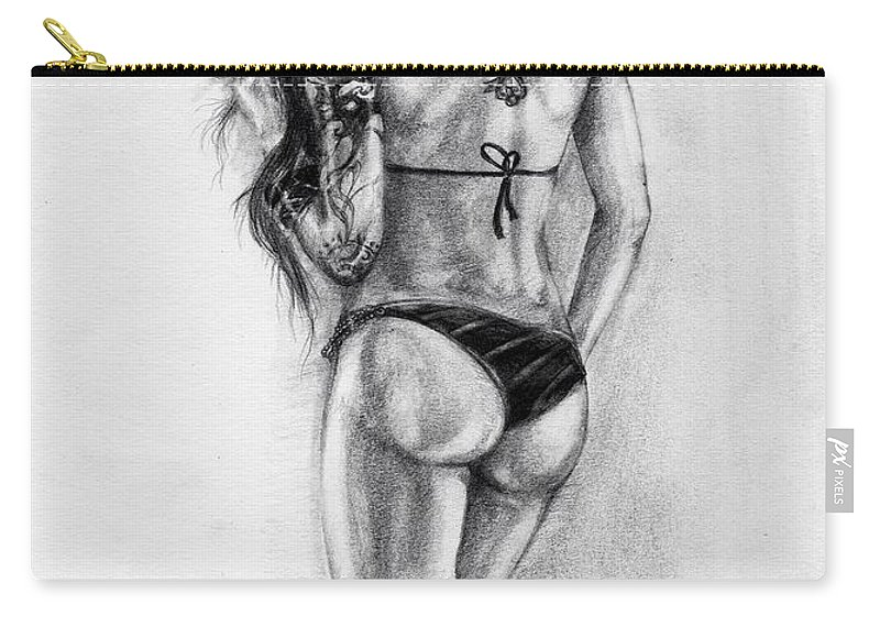 Model Carry-all Pouch featuring the drawing Model by Alban Dizdari