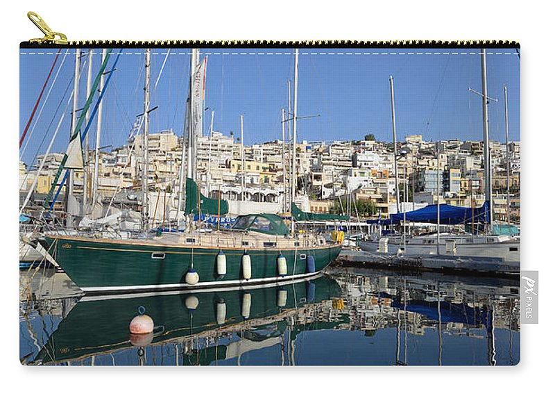 Mikrolimano Carry-all Pouch featuring the photograph Reflections In Mikrolimano Port by George Atsametakis
