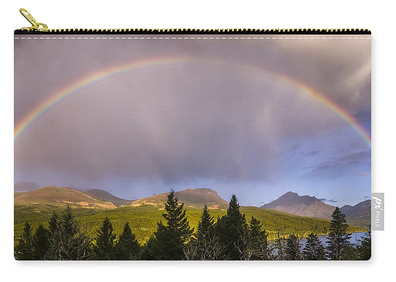 Glacier National Park Carry-all Pouch featuring the photograph 100801a-14 Two Medicine Rainbow by Albert Seger