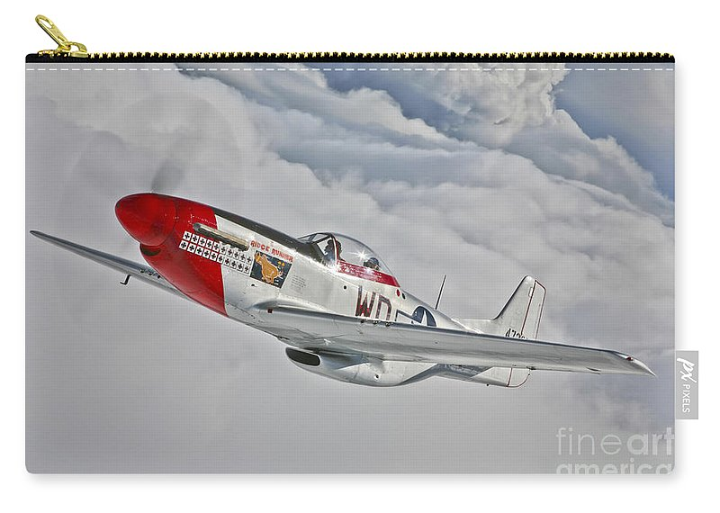 Horizontal Carry-all Pouch featuring the photograph A P-51d Mustang In Flight by Scott Germain