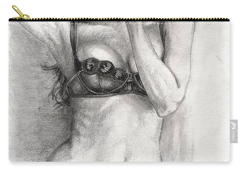 Candice Swanep Carry-all Pouch featuring the drawing Model by Alban Dizdari