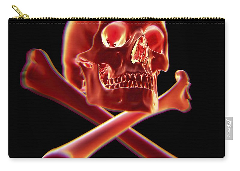 3d Visualisation Carry-all Pouch featuring the photograph Skull And Crossbones by Science Picture Co