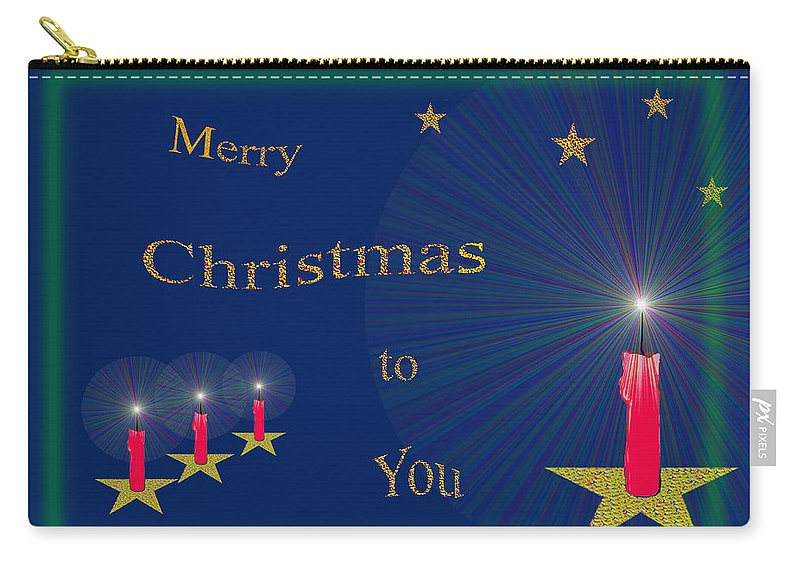 117 Carry-all Pouch featuring the painting 117 - Christmas Card by Irmgard Schoendorf Welch
