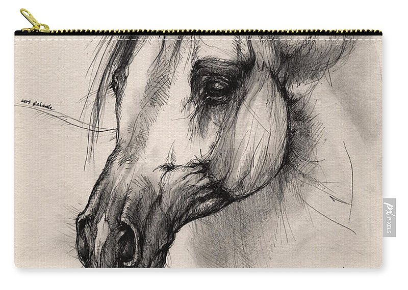 Horse Carry-all Pouch featuring the drawing Arabian Horse by Angel Ciesniarska