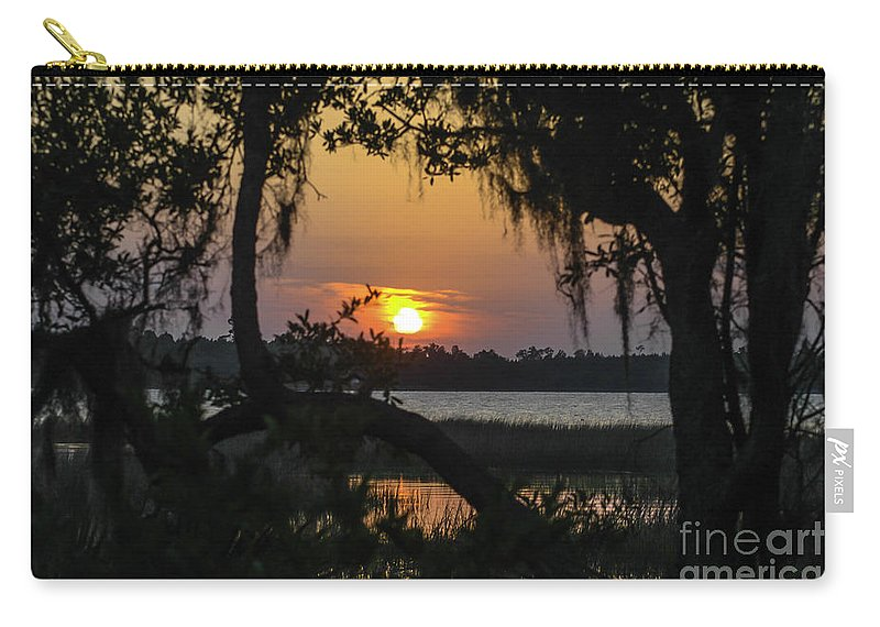 Lowcountry Carry-all Pouch featuring the photograph Lowcountry Spanish Moss Sunset by Dale Powell