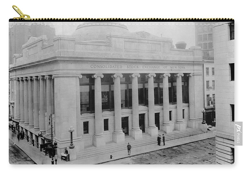 1908 Carry-all Pouch featuring the photograph New York Stock Exchange by Granger