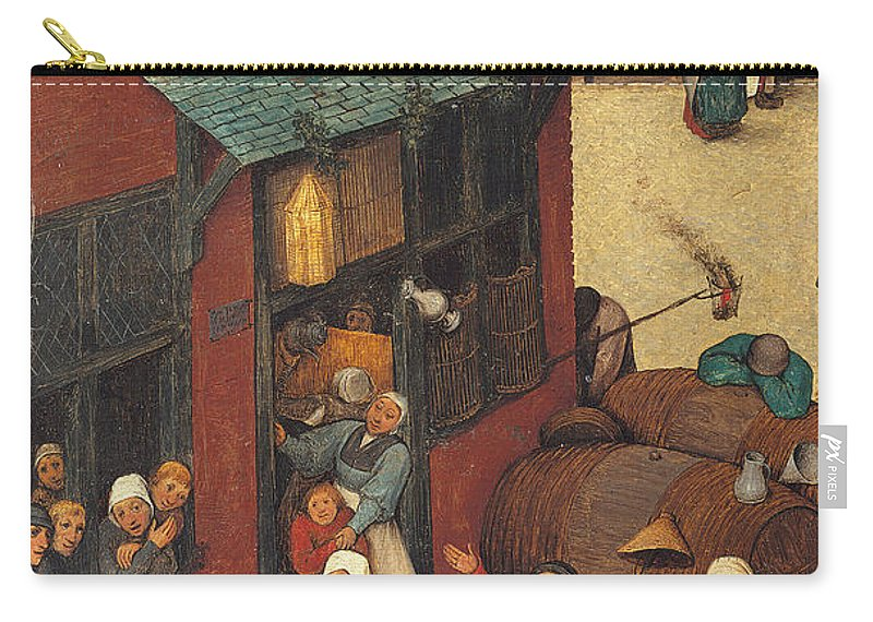 Allegory Carry-all Pouch featuring the painting The Fight Between Carnival And Lent by Pieter the Elder Bruegel