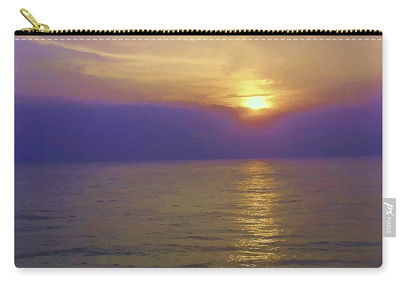 Arabian Sea Carry-all Pouch featuring the digital art View Of Sunset Through Clouds by Ashish Agarwal