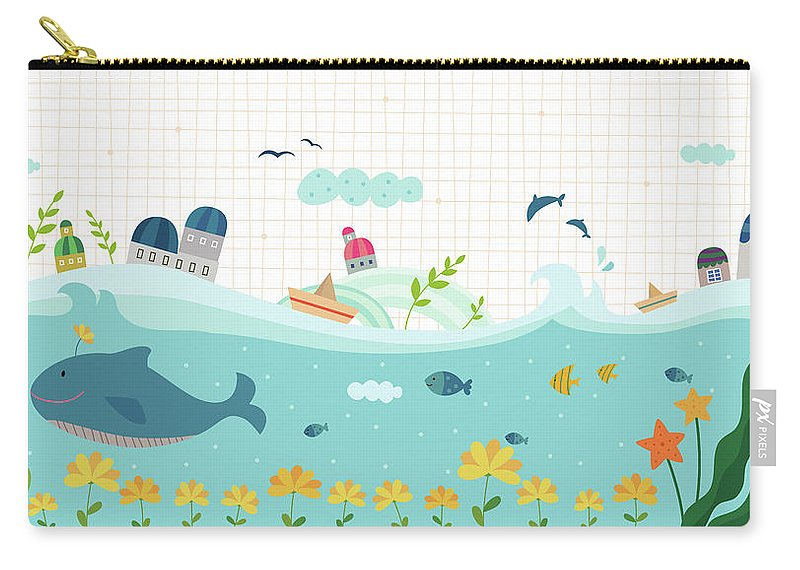 Seaweed Carry-all Pouch featuring the digital art View Of Town by Eastnine Inc.