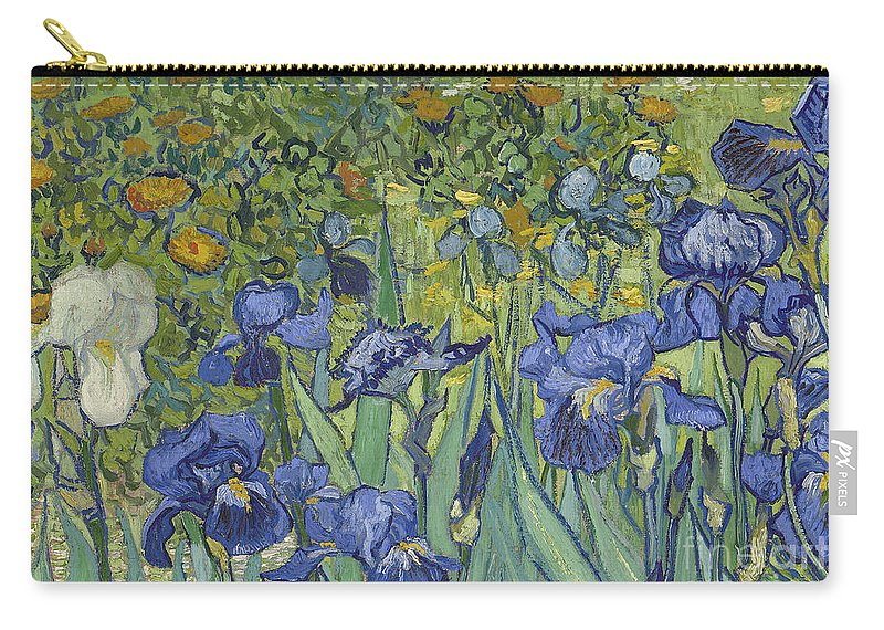 Irises Carry-all Pouch featuring the painting Irises, 1889 by Vincent Van Gogh by Vincent Van Gogh