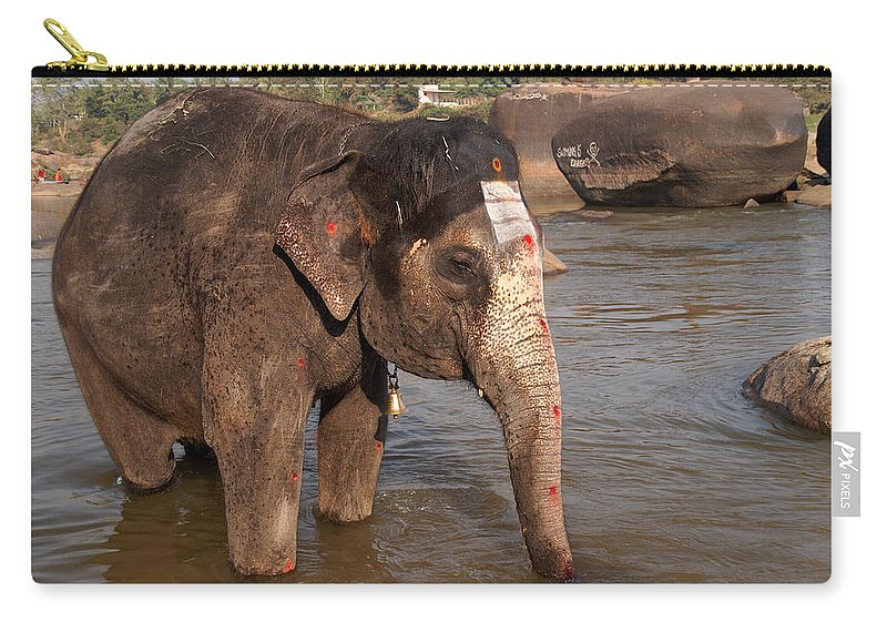 Animal Mamal Carry-all Pouch featuring the digital art Lakshmi Temple Elephant by Carol Ailles