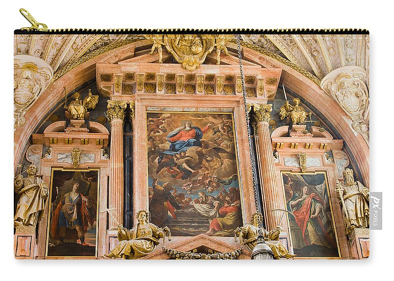 Mezquita Carry-all Pouch featuring the photograph Mezquita Cathedral Interior In Cordoba by Artur Bogacki