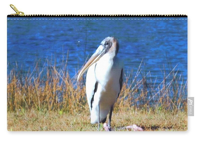 Resting At Lakes Park In Ft.myers Carry-all Pouch featuring the photograph Wood Stork by Robert Floyd