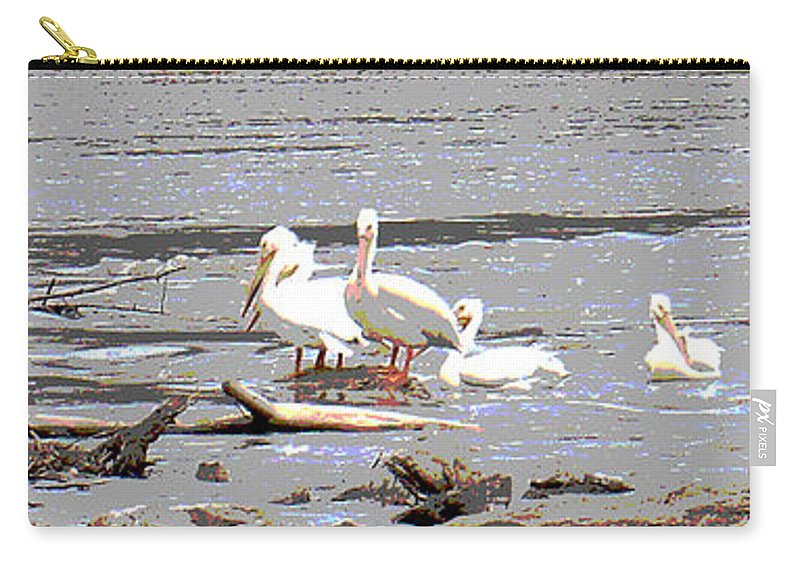Pelicans Carry-all Pouch featuring the photograph 14 Pelicans by Steve Karol