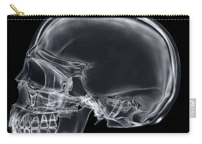 Digitally Generated Image Carry-all Pouch featuring the photograph The Skull by Science Picture Co
