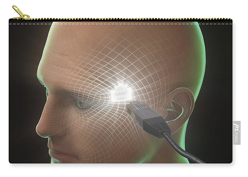 3d Visualisation Carry-all Pouch featuring the photograph Digital Connection by Science Picture Co