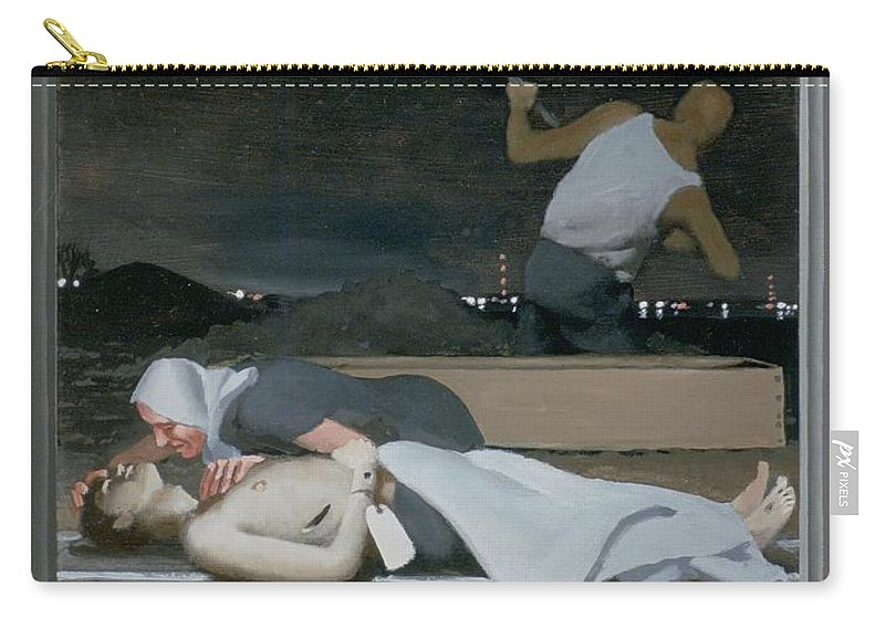 Jesus Carry-all Pouch featuring the painting 16. Jesus Is Buried / From The Passion Of Christ - A Gay Vision by Douglas Blanchard