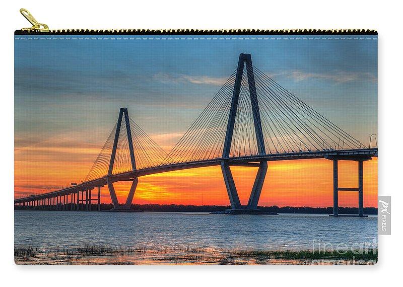 Arthur Ravenel Jr Bridge Carry-all Pouch featuring the photograph Twilight Over Ravenel by Dale Powell