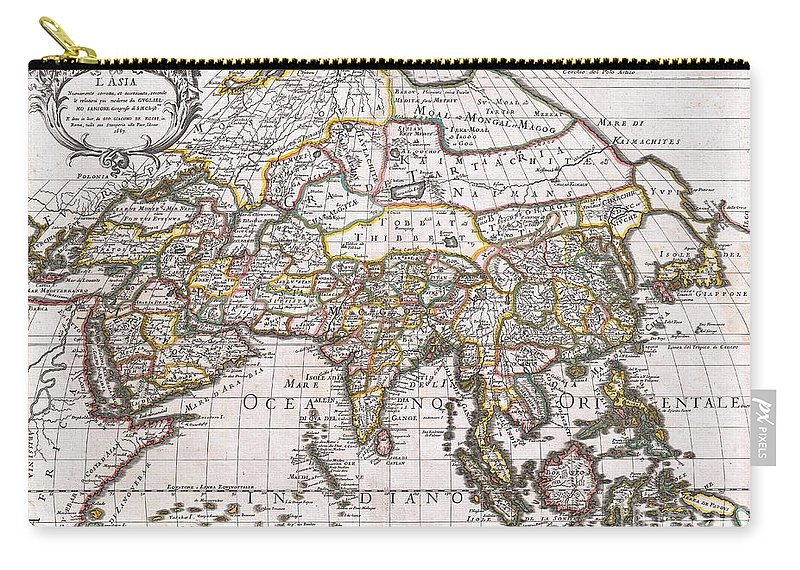 : A Spectacular 1687 Map Of Asia By The Important Italian Cartographer Giovanni Giacomo De Rossi. Depicts The Entire Continent As Well As Parts Of Europe Carry-all Pouch featuring the photograph 1687 Sanson Rossi Map Of Asia 1687 by Paul Fearn