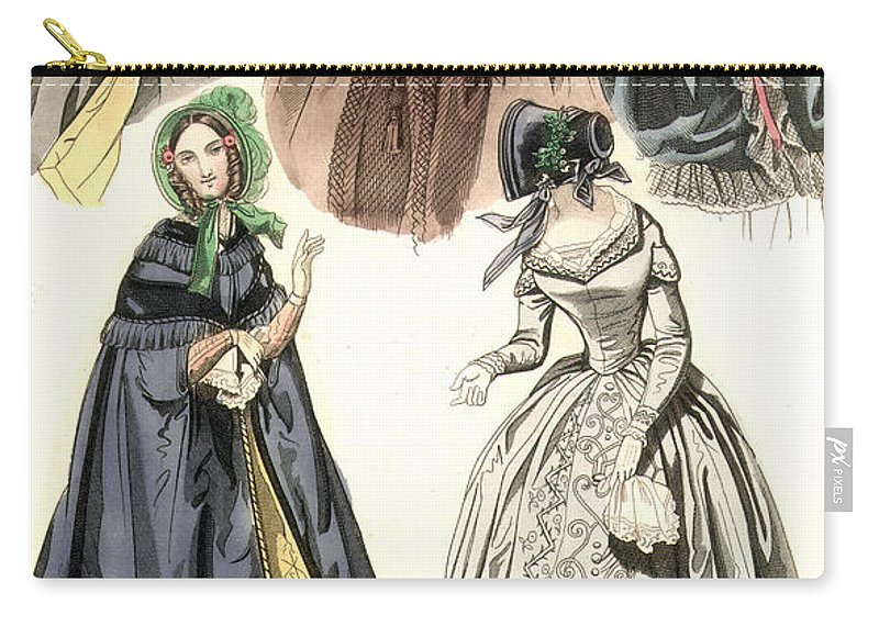 1842 Carry-all Pouch featuring the painting Women's Fashion, 1842 by Granger