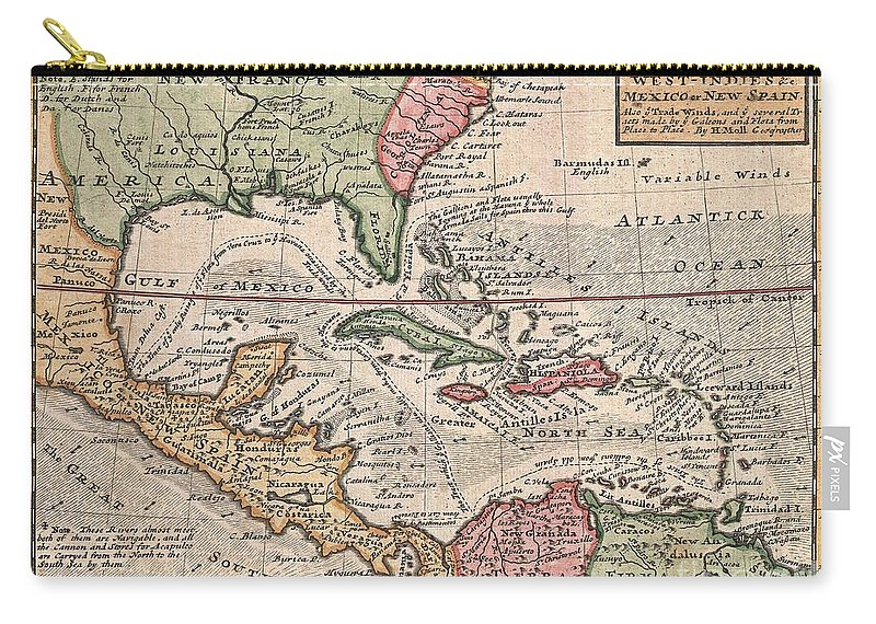 This Is Herman Molls Small But Significant C. 1732 Map Of The West Indies. Moll's Map Covers All Of The West Indies Carry-all Pouch featuring the photograph 1732 Herman Moll Map Of The West Indies And Caribbean by Paul Fearn