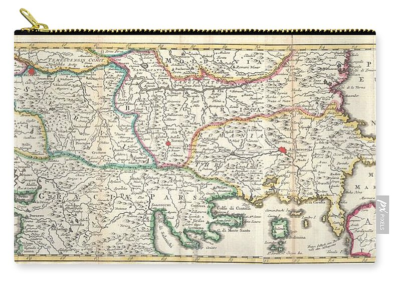 This Is A Rare And Unusual 1738 Map Of The Balkans By J. Ratelband. Likely Revised And Updated From Earlier Charts By The De La Feuille Family. Depicts From Modern Day Albania (dalmatia) Eastward Through Bosnia Carry-all Pouch featuring the photograph 1738 Ratelband Map Of The Balkans by Paul Fearn