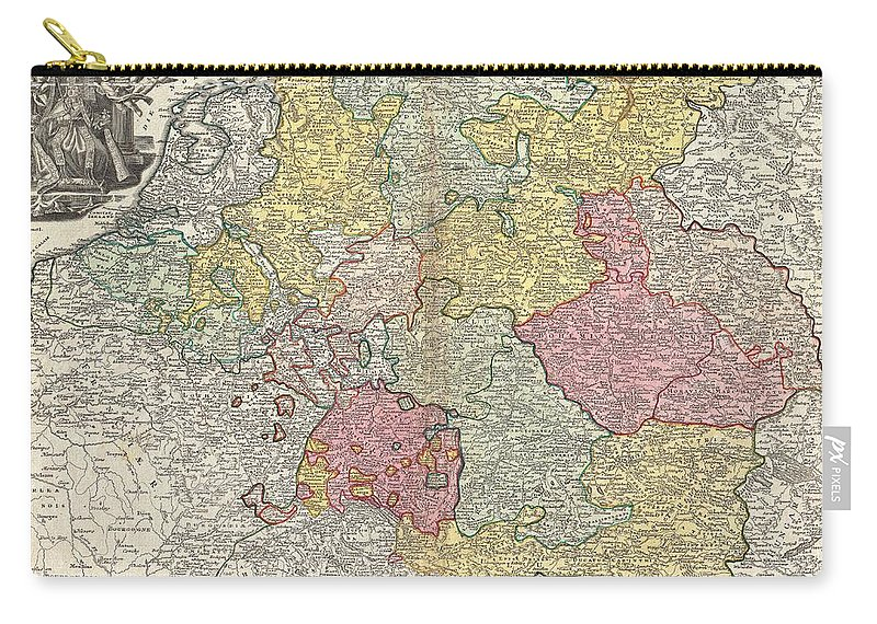 A Beautifully Detailed C. 1740 J. B. Homann Map Of Those Parts Of Europe Dominated By The Holy Roman Empire Or The German Empire. Depicts Most Of Central Europe From The Netherlands Eastward As Far As Poland And Hungary And As Far South As Northern Italy And The Gulf Of Venice. Elaborate Title Cartouche In The Upper Left Quadrant Features The Emperor Surrounded By Angels And Heraldic Symbols. Map Scales In Upper Right Hand Quadrant. Key To Color Coding Outside Border On Lower Margin. Alternative Title In French In Top Margin Carry-all Pouch featuring the photograph 1740 Homann Map Of The Holy Roman Empire by Paul Fearn