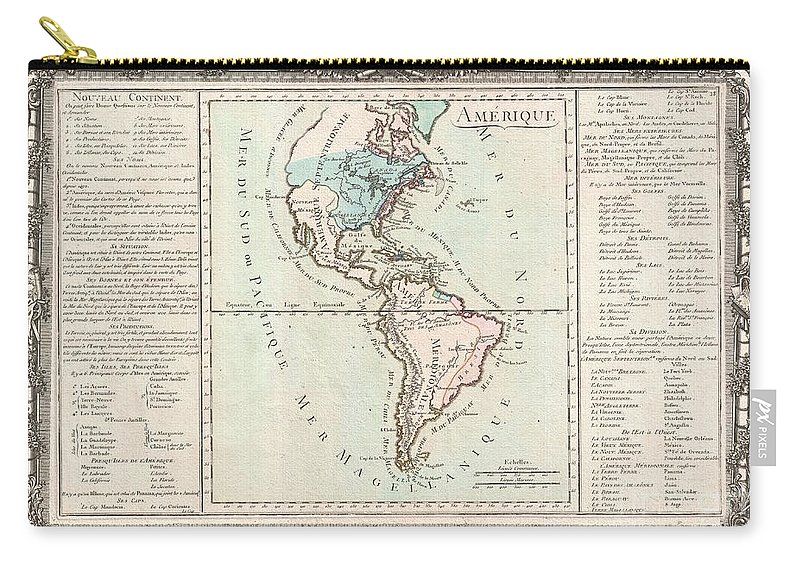 This Is An Extremely Rare Example Of Desnos And Brion De La Tour's C. 1760 Mapping Of America. Covers Both North America And South America From Greenland To Cape Horn. Overall The General Form Of The Continents Exhibit An Craggy And Exceptionally Rugged Coast Line - A Step Back From Some More Advanced Maps Of This Region Available At The Time. The Cartography Of North America Carry-all Pouch featuring the photograph 1760 Desnos And De La Tour Map Of North America And South America by Paul Fearn